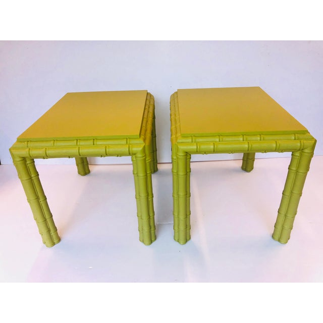 Fabulous vintage pair chunky faux Bamboo side or lamp tables. Freshly coated in Sherwin Williams Tupelo green finish.
