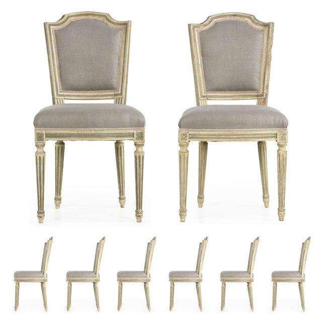 French Louis XVI Style Antique Dining Chairs - Set of 8 - Image 1 of 10