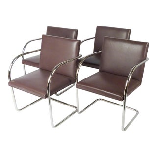 Pair of Vintage Leather Brno Chairs- Set of 2 For Sale