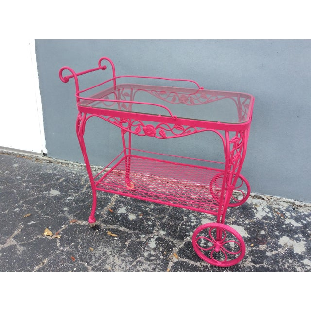 Vintage Mid Century Patio Bar Cart For Sale - Image 9 of 9