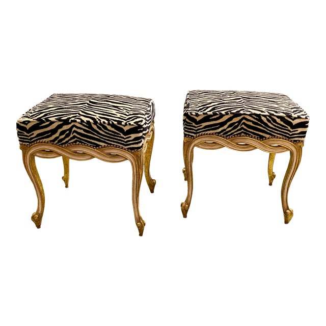 Regency Style Taboret Benches With Zebra Velvet - a Pair For Sale