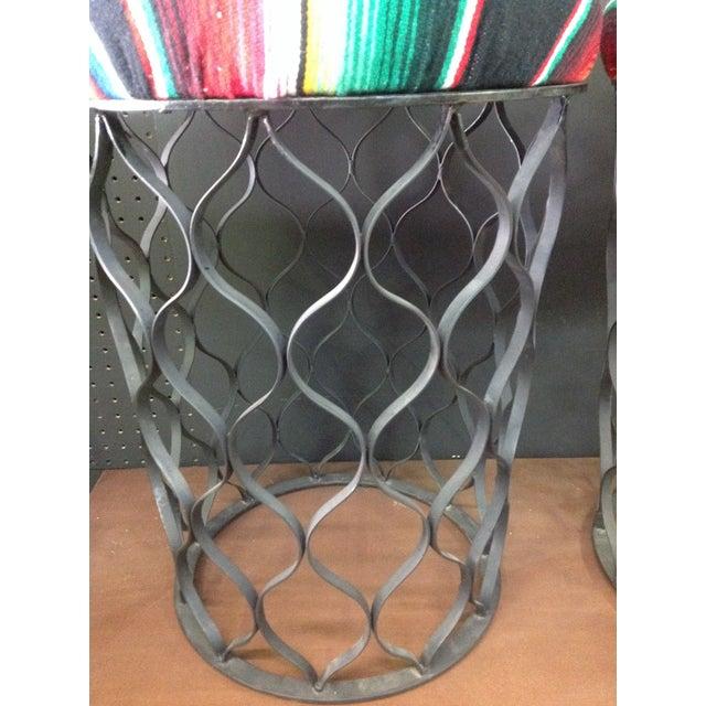 Mid-Century Serape Upholstered Metal Stools - A Pair - Image 4 of 4