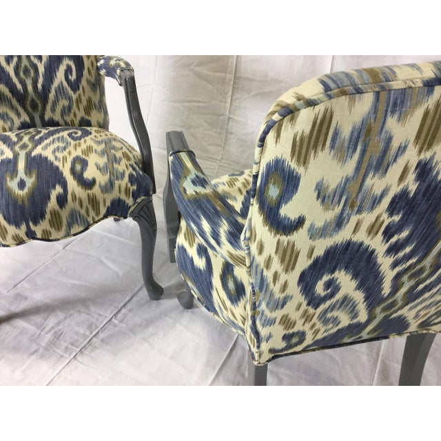 Gray Lacquered Cabriole Leg Chairs Reupholstered in Kravet - A Pair For Sale - Image 10 of 11