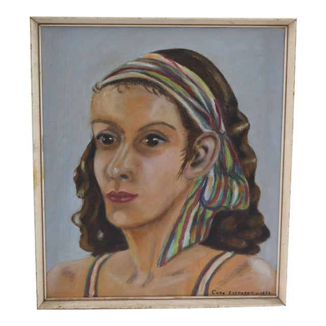 Vintage Portrait of Woman Oil Painting - Image 1 of 7