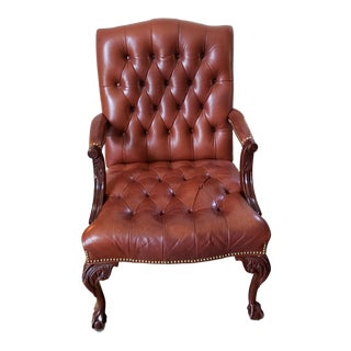 19th Century Louis XV Style Button Tufted Leather Arm Chair For Sale