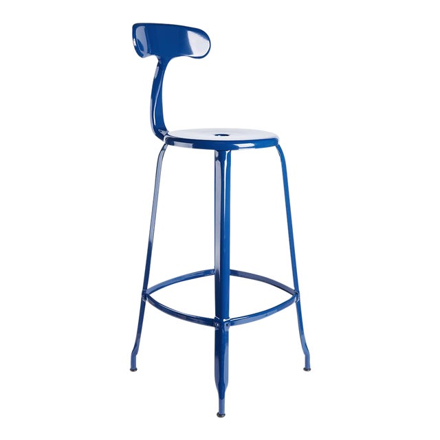 Cobalt Blue Leather Seat Bar Stool For Sale