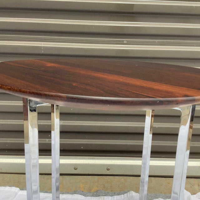 Midcentury Modern Rosewood & Chrome Drinks Table For Sale - Image 4 of 11