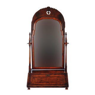 19th Century Carved Walnut Shaving Mirror For Sale