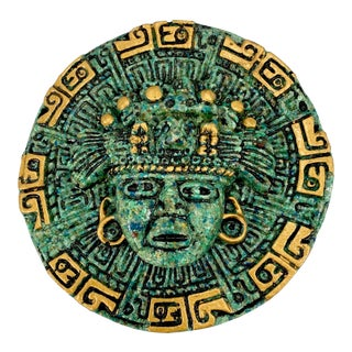 Turquoise Stone Mosaic Aztec Wall Art Placque For Sale
