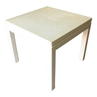 Minimalist White Reptile Leather Wrapped Square Flip Top Dining Table For Sale