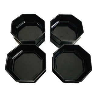 Arcoroc France Octime Black Octagon Glass Soup Bowls Dinnerware - Set of 8 For Sale