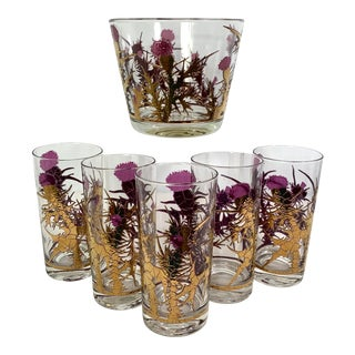Mid-Century Modern Gregory Duncan Purple Gold Thistle Barware Ice Bucket & Highball Glasses - Set of 6 For Sale