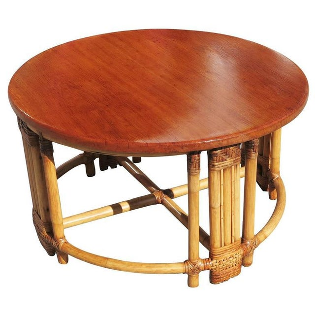 Round Rattan Coffee Table with Mahogany Top and Fancy Wrapping - Image 3 of 5