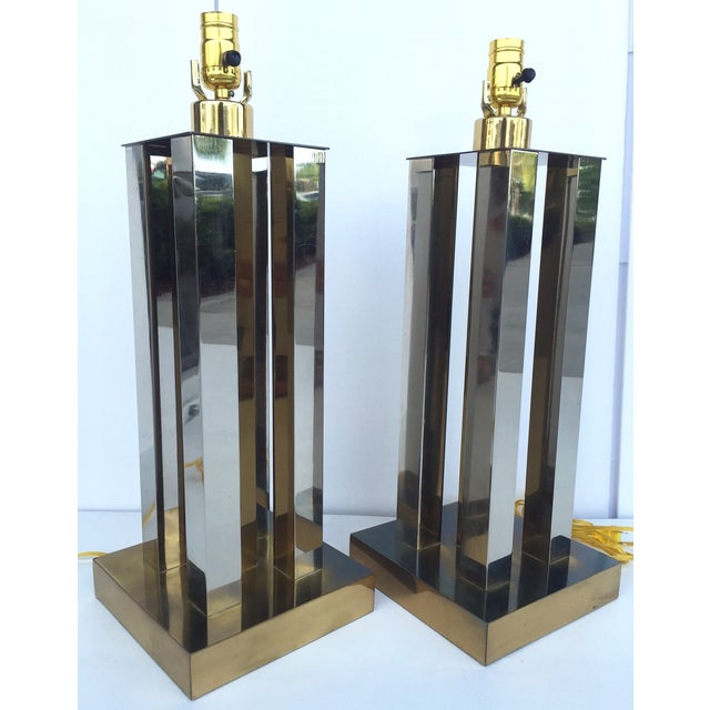 Mid-Century Steel & Brass Column Lamps - A Pair - Image 8 of 9