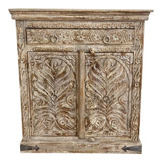 Indian 2 Door 1 Drawer Painted & Carved Chest For Sale