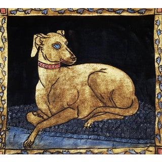 Greyhound Silk Velvet Pillow For Sale