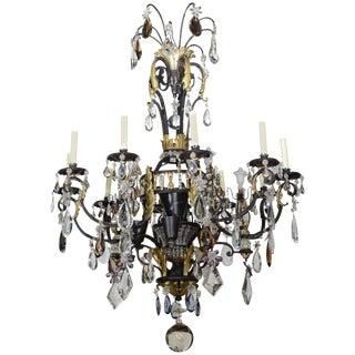 Large French Iron, Gilt Iron, Crystal and Rock Crystal Chandelier, Maison Baguès For Sale