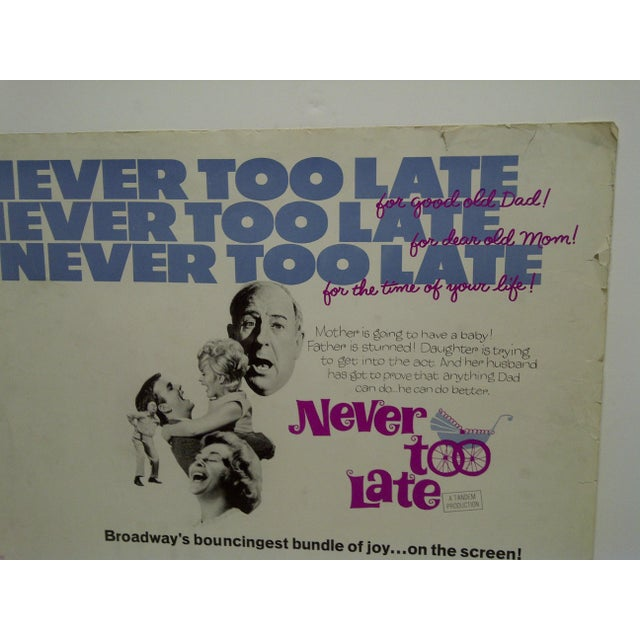 "Mid-Century Modern Vintage Movie Poster ""Never Too Late"" by Paul Ford & Connie Stevens 1965 For Sale - Image 3 of 5"