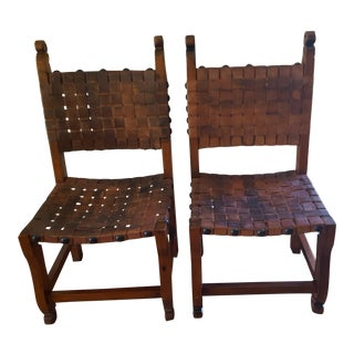 1900s Vintage James Mont Style Indonesian Leather Strapped Accent Chairs - A Pair For Sale
