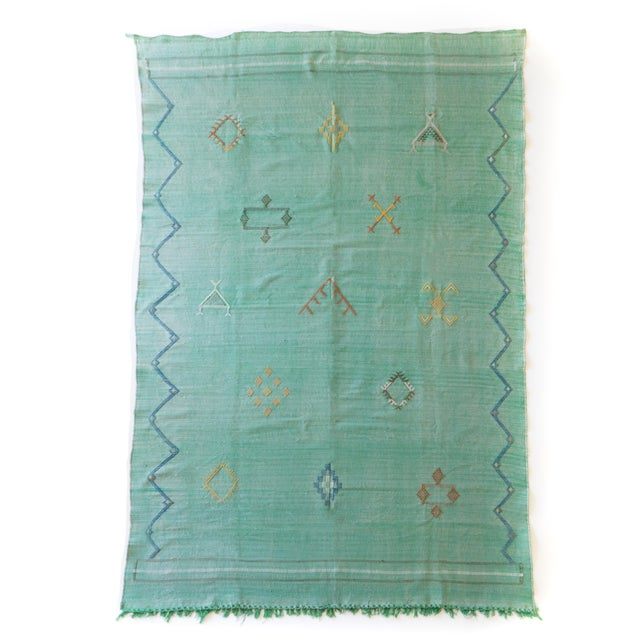"""Boho Chic Green Cactus Silk Rug - 7'5"""" X 6' For Sale - Image 3 of 5"""