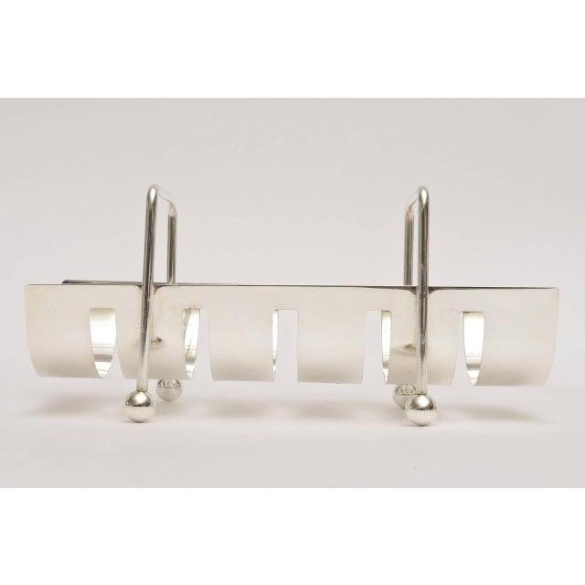 Modern Italian Modernist Silver Plate Baguette Holder For Sale - Image 3 of 10