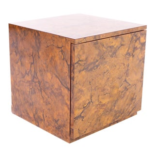 1960s Vintage Mid Century Formica Cube Nightstand For Sale