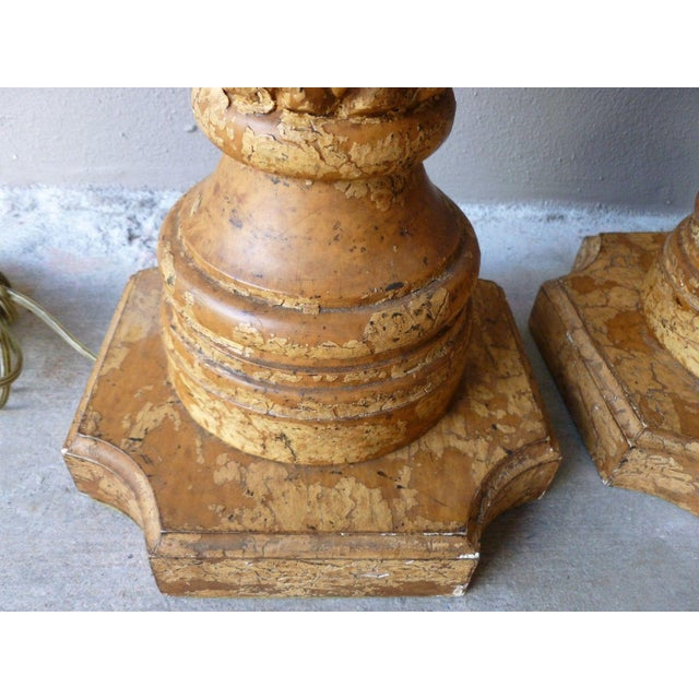 Wood 1970s Italian Haute Design Carved Wood Pineapple Lamps - a Pair For Sale - Image 7 of 9