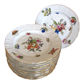 Herend Fruits & Flowers Bread & Butter - Set of 12 For Sale