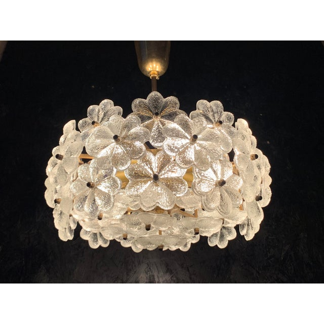 Brass Small Ernst Palme Floral Glass Chandelier For Sale - Image 7 of 10