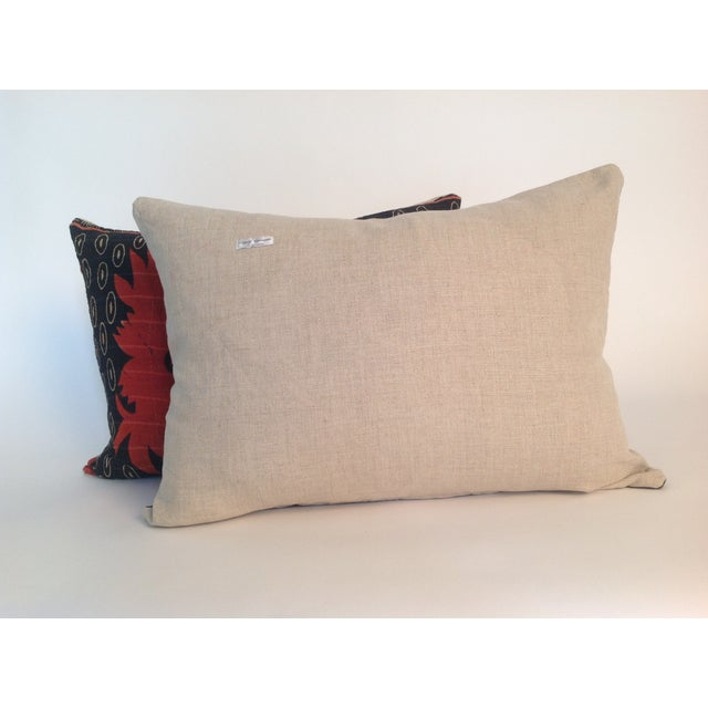 Asian Vintage Block Printed Kantha Quilt Pillows - Pair For Sale - Image 3 of 4