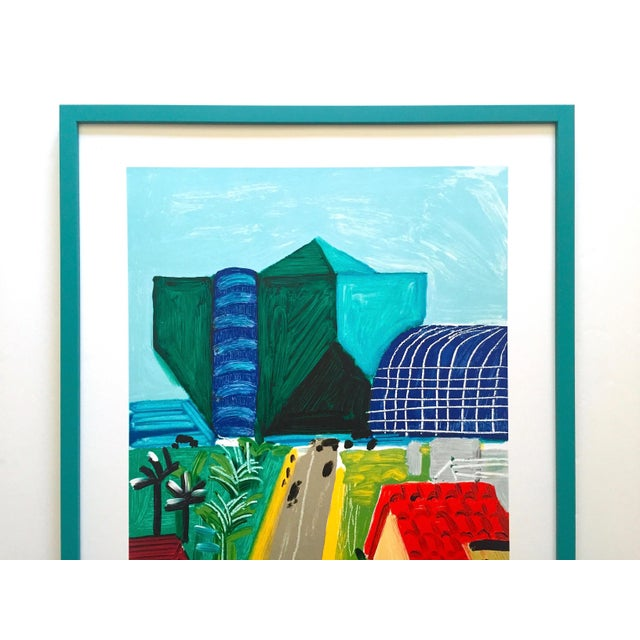 "This David Hockney rare vintage 1989 lithograph print custom framed collector's Pop Art poster "" Hancock St. West..."