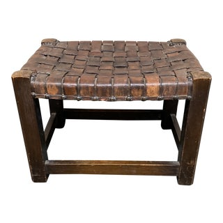 Early 20th Century Woven Leather Stool For Sale