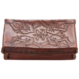 Early 20th Century Small Tooled Leather Box From Mexico For Sale