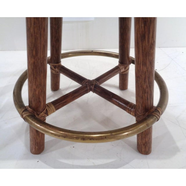 Vintage McGuire Organic Modern Bamboo & Leather Swivel Barstools ~ a Pair For Sale - Image 11 of 13