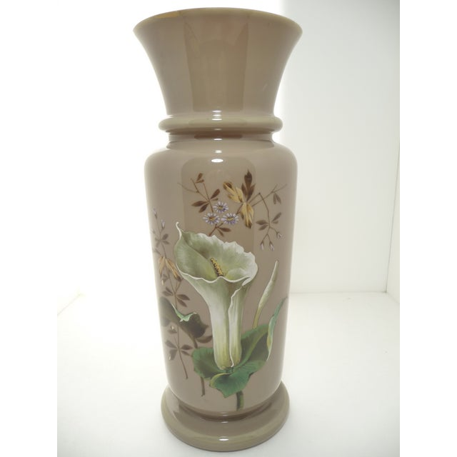 European Antique Bristol Blown Glass Vase. Beautiful & Unusual Taupe Color Background. Hand Painted Calla Lily Design. As...