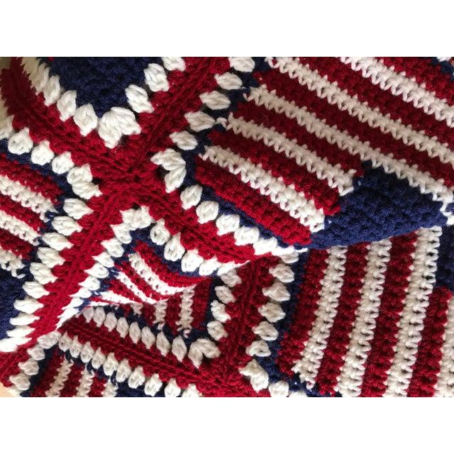 "Fabric American Flag Handmade Throw Blanket - 48"" x 64"" For Sale - Image 7 of 7"