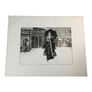 1892 Antique Lady Bountiful Etching Print For Sale
