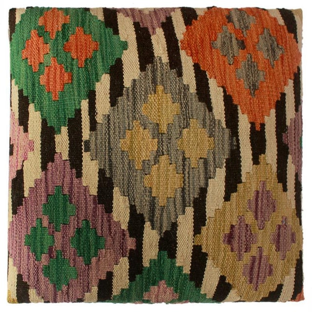 2010s Arshs Dora Chocolate/Ivory Kilim Upholstered Handmade Ottoman For Sale - Image 5 of 8
