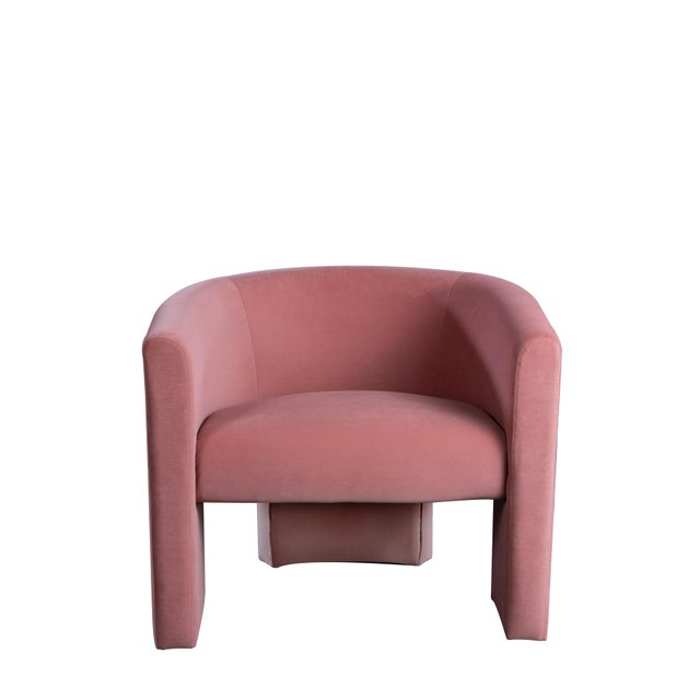 """Iconic curved mid-century design chair in rose velvet. Seat measurements: 24""""w x 19""""dx 14""""h (back) Seat height 17"""" Leg..."""