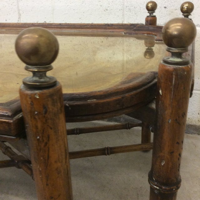 Chinese Chippendale Faux Bamboo and Brass Tray Coffee Table by Sarreid For Sale - Image 9 of 11