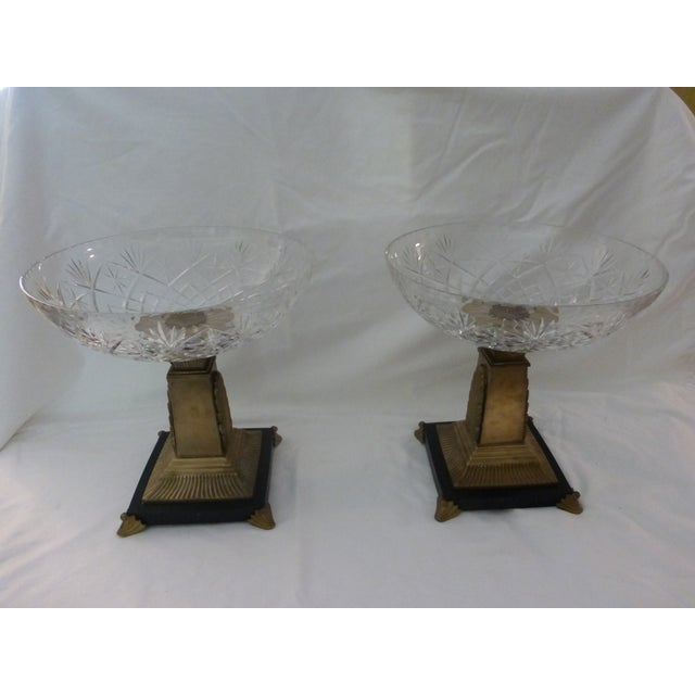 Art Deco Style Crystal Compotes - Pair - Image 2 of 6