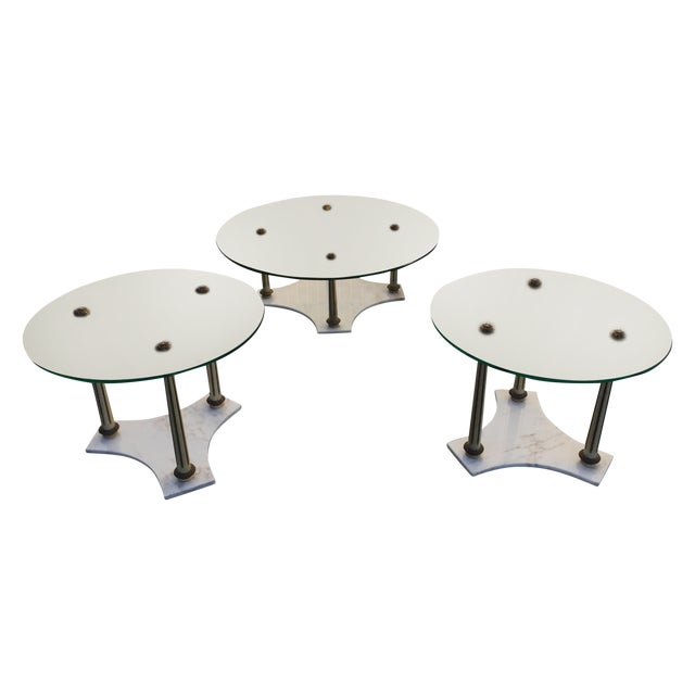 Hollywood Regency Marble Glass Tables - Set of 3 - Image 1 of 7