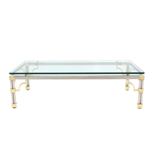 Heavy Thick Glass Brass and Chrome Coffee Table For Sale - Image 4 of 8