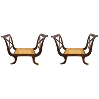 Pair of Neoclassical Carved Mahogany Settees Window Benches With Cane Seats For Sale