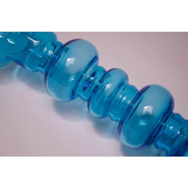 Scandinavian Modern Turquoise Blown Glass Hooped Vase For Sale - Image 4 of 9