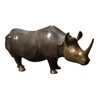 1970s Vintage Loet Vanderveen Bronze Rhino Model For Sale