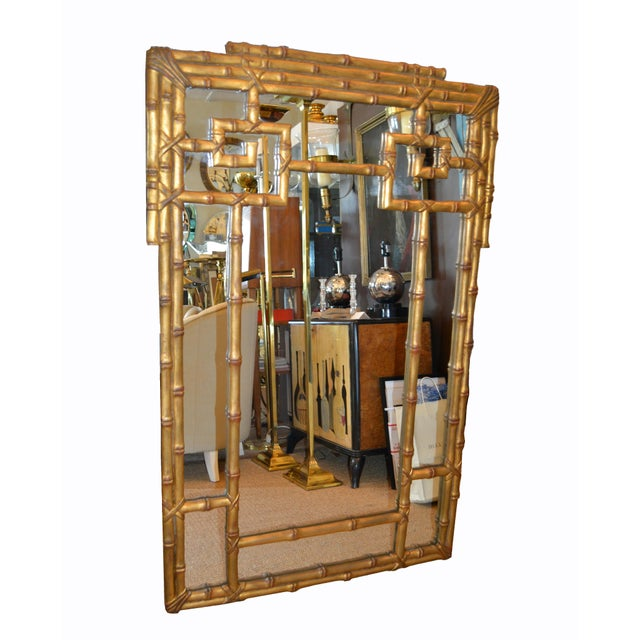 Hollywood Regency Hollywood Regency Golden Faux Bamboo Greek Key Wall Mirror For Sale - Image 3 of 13