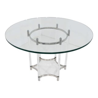 Contemporary Chrome, & Lucite Glass Top Dining Table For Sale