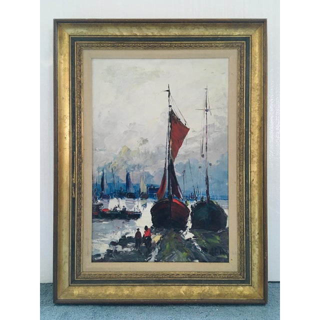 Mid Century Impressionist Oil on Canvas Harbor Scene For Sale - Image 11 of 12