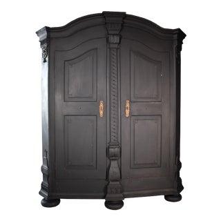 19th Century Italian Black Painted Armoire